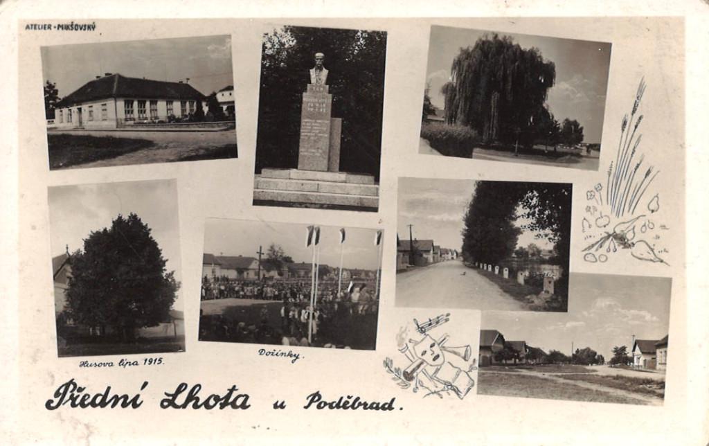 Přední Lhota na pohlednici z meziválečného období.
