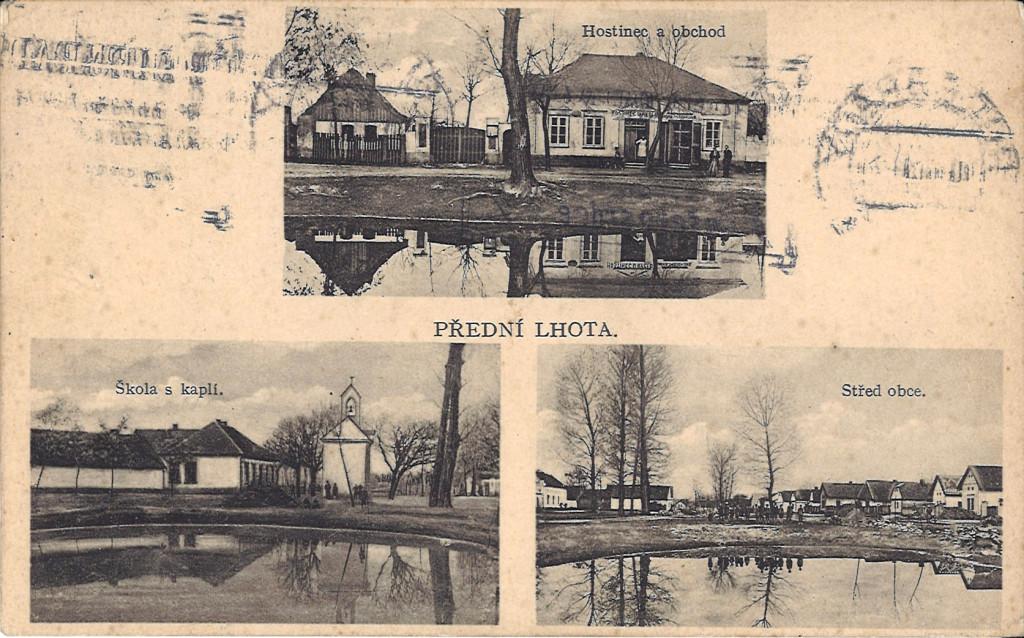Přední Lhota na pohlednici kolem roku 1931.